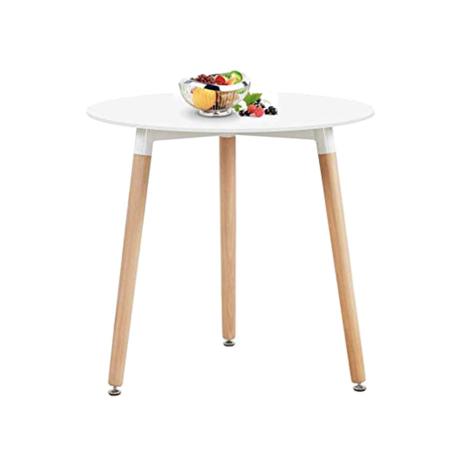 Nicemoods Round Table Kitchen Dining Table, Modern Style Round Leisure Coffee Table,White Dining Room Table for Kicthen Living Room,White by Nicemoods