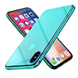 RAXFLY Compatible iPhone X Phone Case Stylish Gradual Colorful Ultra Thin Electroplating Mint-Green Light Mirror Transparent Clear Hard Back Cover