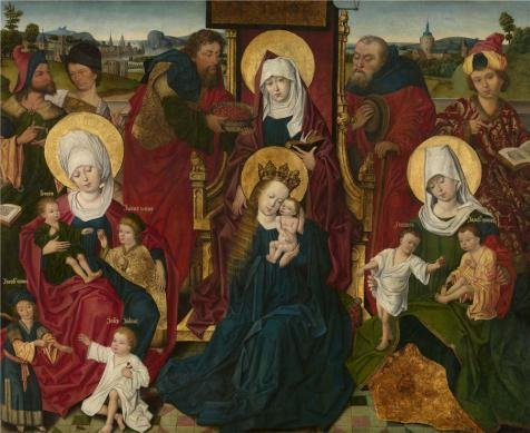Oil Painting 'Holy Kinship By Derick Baegert. 15th Century', 12 x 15 inch / 30 x 37 cm , on High Definition HD canvas prints is for Gifts And Basement, Bed Room And Garage Decoration, HD