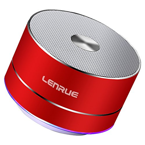 LENRUE Bluetooth Speaker Portable Wireless-with Built-in-Mic,Handsfree Call,AUX Line,TF Card for Iphone Ipad Android Smartphone for Echo Dot Alexa 1000mAH (Red)