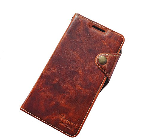 Yogurt for Microsoft Lumia 950 XL Handmade Genuine Leather Wallet Case Cover Dark Brown