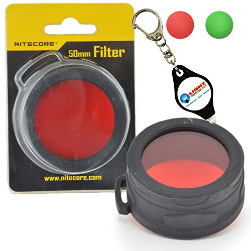 Nitecore NFG50 NFR50 50mm Green or Red Filter for LED Flashlights Plus a LightJunction Keychain Light (Red)