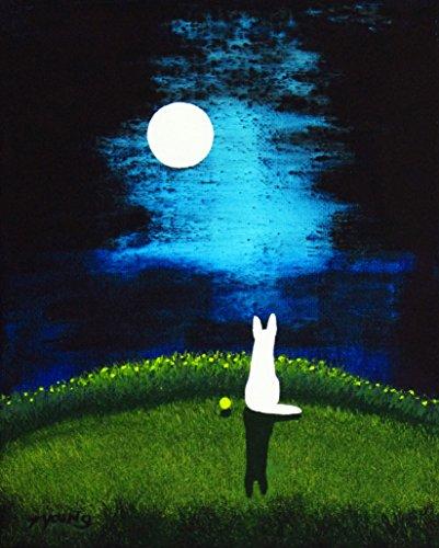 (WHITE German Shepherd Dog Folk Art PRINT by Todd Young MOON LIGHT)