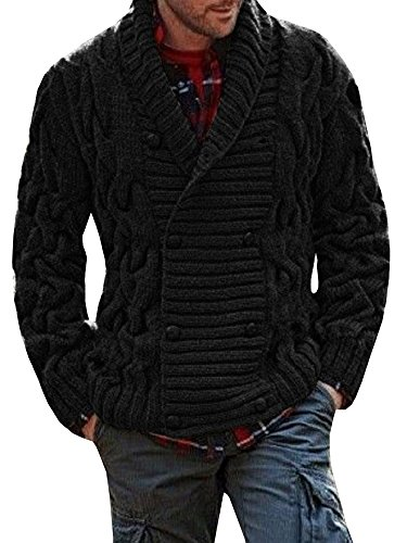 Makkrom Mens Ribbed Knitted Cardigan Long Sleeve Double Breasted Shawl Collar Winter Sweater (Black Double Breasted Sweater)