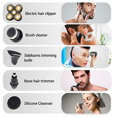 Head Shavers for Men Women Upgraded 5-in-1 Electric Skull Shaver for Men with Cordless USB Rechargeable Mens Grooming Kit with IPX5-Waterproof Wet Dry(Gold)