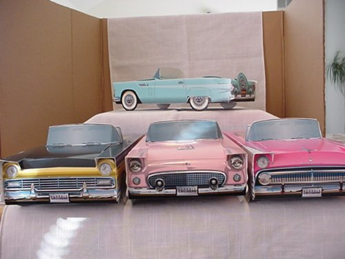 1955 Pink  FORD Fairlane CENTERPIECES for BOOMERS CARDBOARD CAR