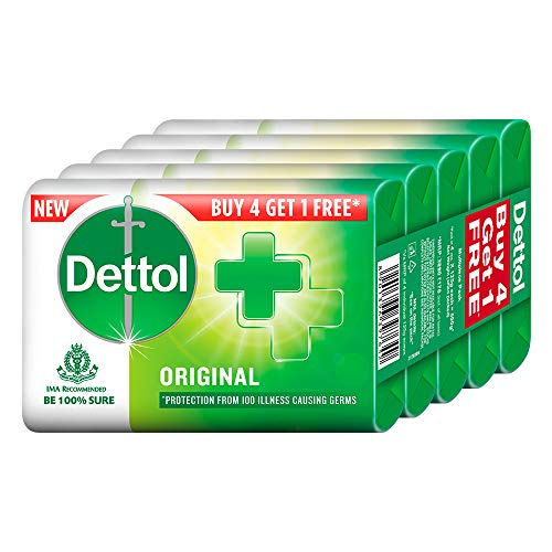 Dettol Original Germ Protection Bathing Soap bar, 125 gm, Buy 4 Get 1 Free