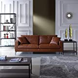 Mid-Century Modern Plush Real Leather Living Room Sofa (Camel)