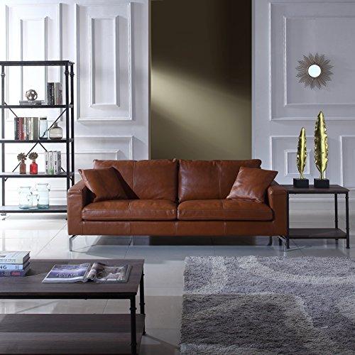 Divano Roma Furniture Mid-Century Modern Plush Leather Match Living Room Sofa Camel