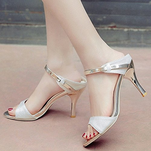 RAZAMAZA Open Mules Sandales Femmes Mode Blanc Aiguille Back Talon Chaussures Sr4ASHwyq