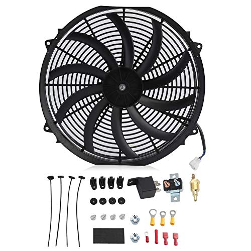 AMPM24US-US 16 Inch Curved Blade 12v 120W Cars Powerful Slim Fan Push Pull Electric Reversible Radiator Cooling Fan with Cable Pack ()