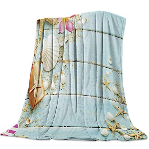 SODIKA Flannel Fleece Light Weight Luxurious Super Soft Cozy Fuzzy Throw Blanket for Couch Chair All Seasons,Beach Theme Seashells 40