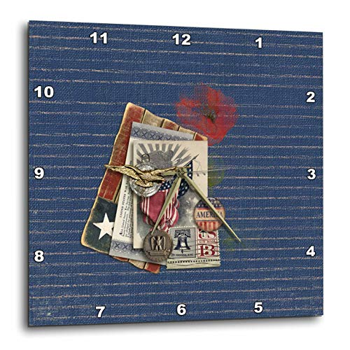 3dRose Beverly Turner Patriotic Design - Gold Eagle, Metal, Savings Bond, Button, and 13 Cent Stamp Look, USA - 15x15 Wall Clock (dpp_287050_3) ()