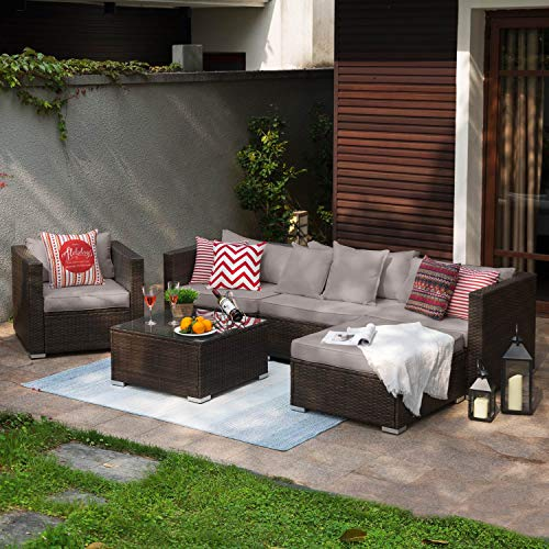 Tribesigns 6 Pieces Patio Furniture Sofa Set, Outdoor Conversation Sectional Sofa Set with PE Rattan & Water-Proof Couch Cushion for Garden, Lawn, Backyard or Poolside (Grey)