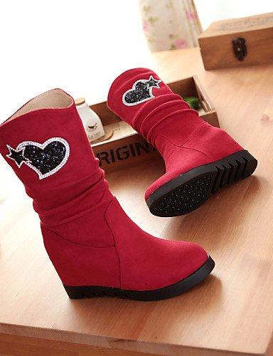 Casual Uk3 Cn35 us6 A Moda Azul De Vellón Zapatos Rojo 5 Redonda Tacón Cn36 Negro Black Eu36 Vestido Mujer Cuña Botas Uk4 Xzz Punta La 5 Blue us5 7fxqA4pw