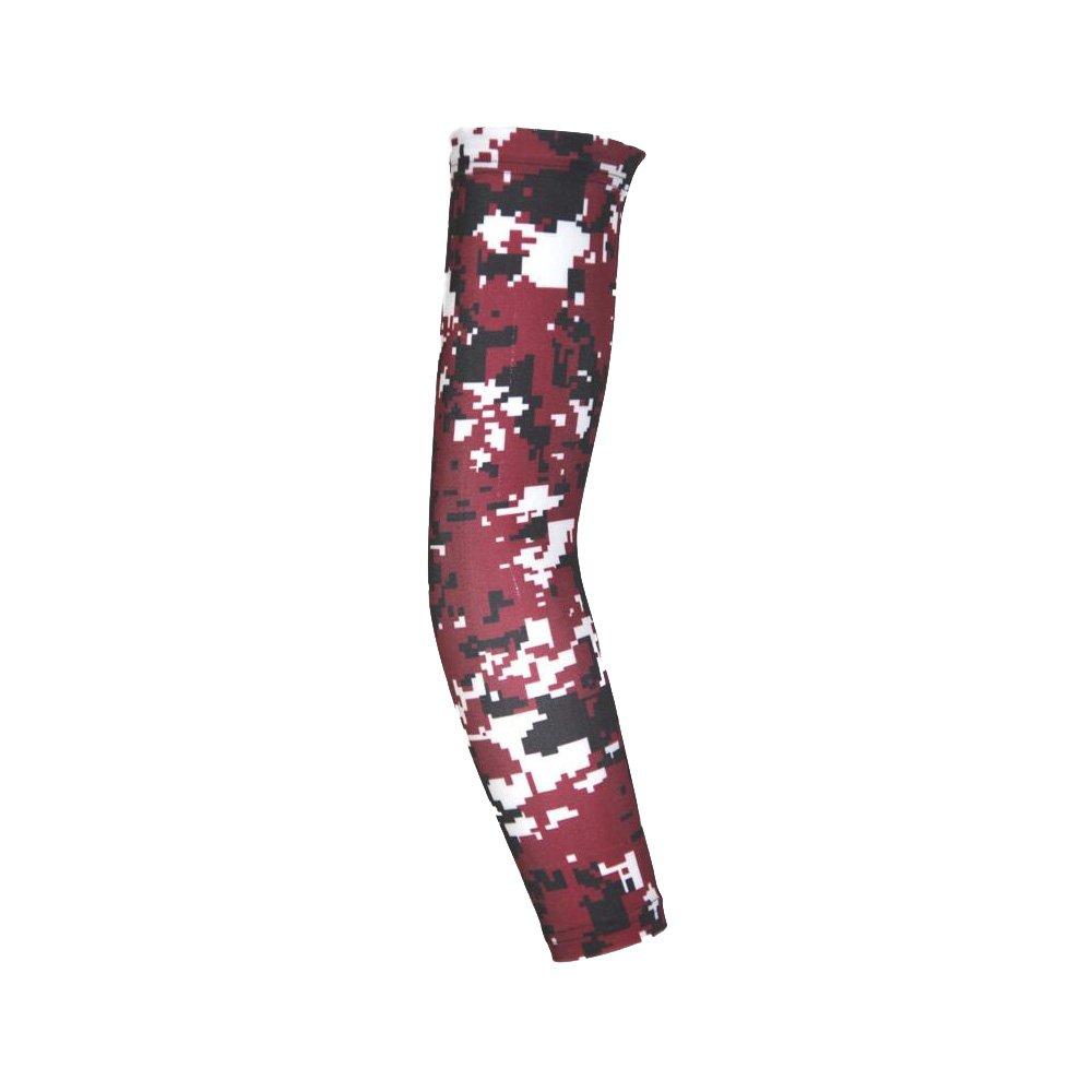 デジタルCamo Compression Arm Sleeves inレッド、ブラックとUV保護ハンターグリーン B01KOZISUO レッド迷彩 X-Large