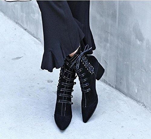 Stivali moda pizzo tacchi alti Scrub Stivali con fibbia donne del cuoio genuino Stivaletti Scarpe , 2# , 34