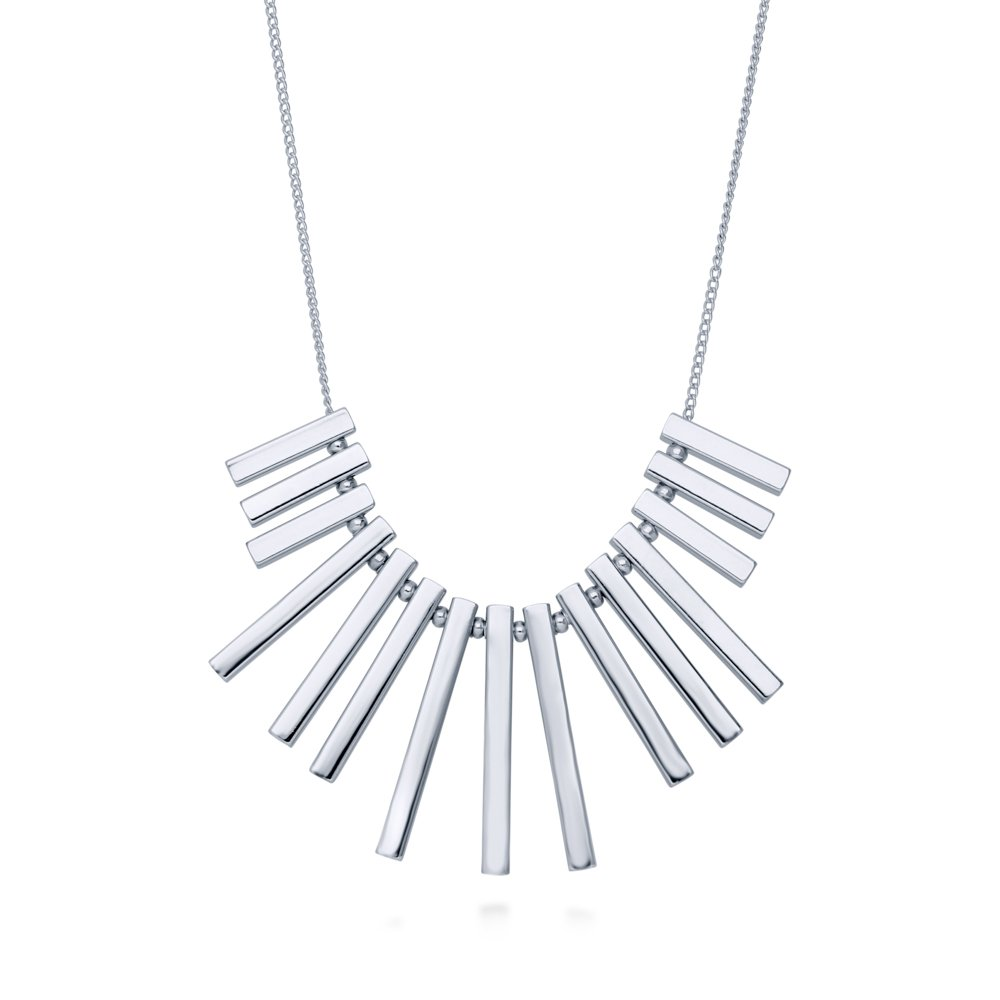 BERRICLE Rhodium Plated Base Metal Bar Fashion Bib Statement Necklace 16.5''+2'' Extender