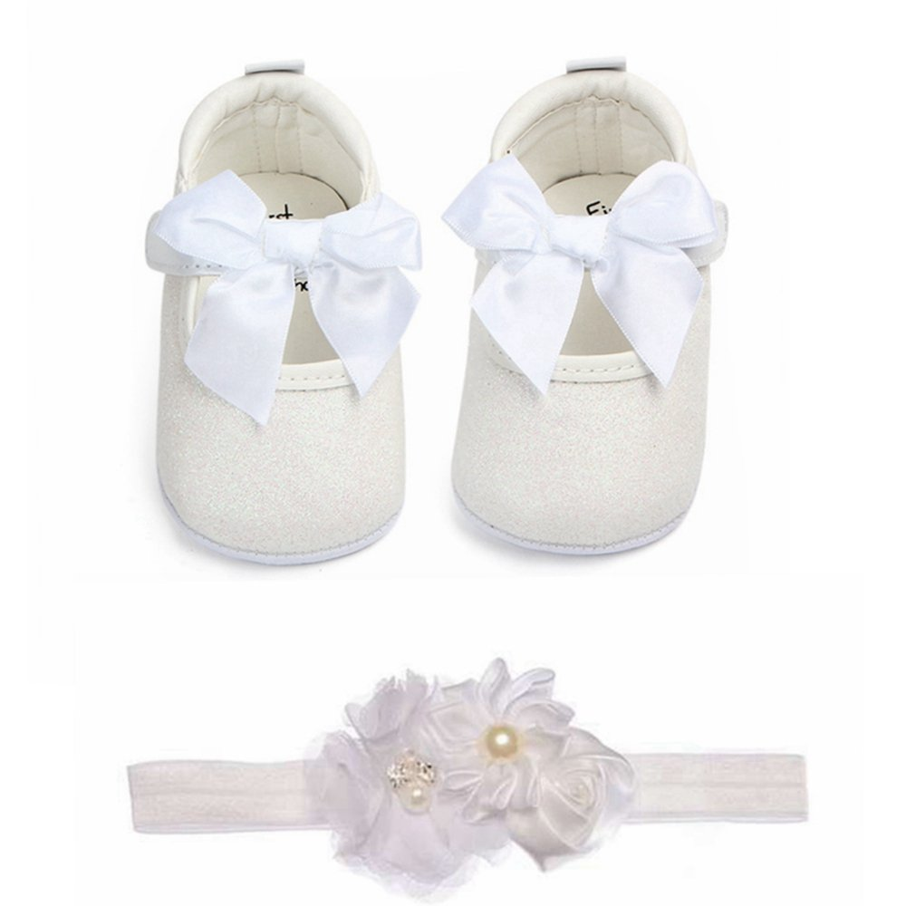 Baby Girls Bowknot Sequins Bling Anti-Slip Mary Jane Flat Crib Shoes with Headband