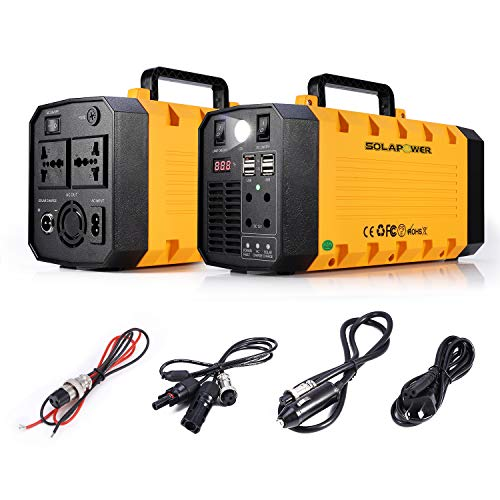 SOLAPOWER 500W Generator Portable Power Station-[ UPS 500W Continuous 1000w Peak ]-Lithium Battery Inverter with 110V AC Outlet, 4 DC 12V Ports, 4 USB, Solar Generators for Camping CPAP Emergency Home