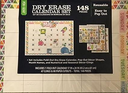 Amazon com: Dry Erase Calendar Set - 1 Fold Out Dry Erase