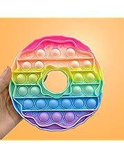Donuts Shape Push Bubble Fidget Toy Macaron Rainbow Sensory Stress Reliever Kids Toys