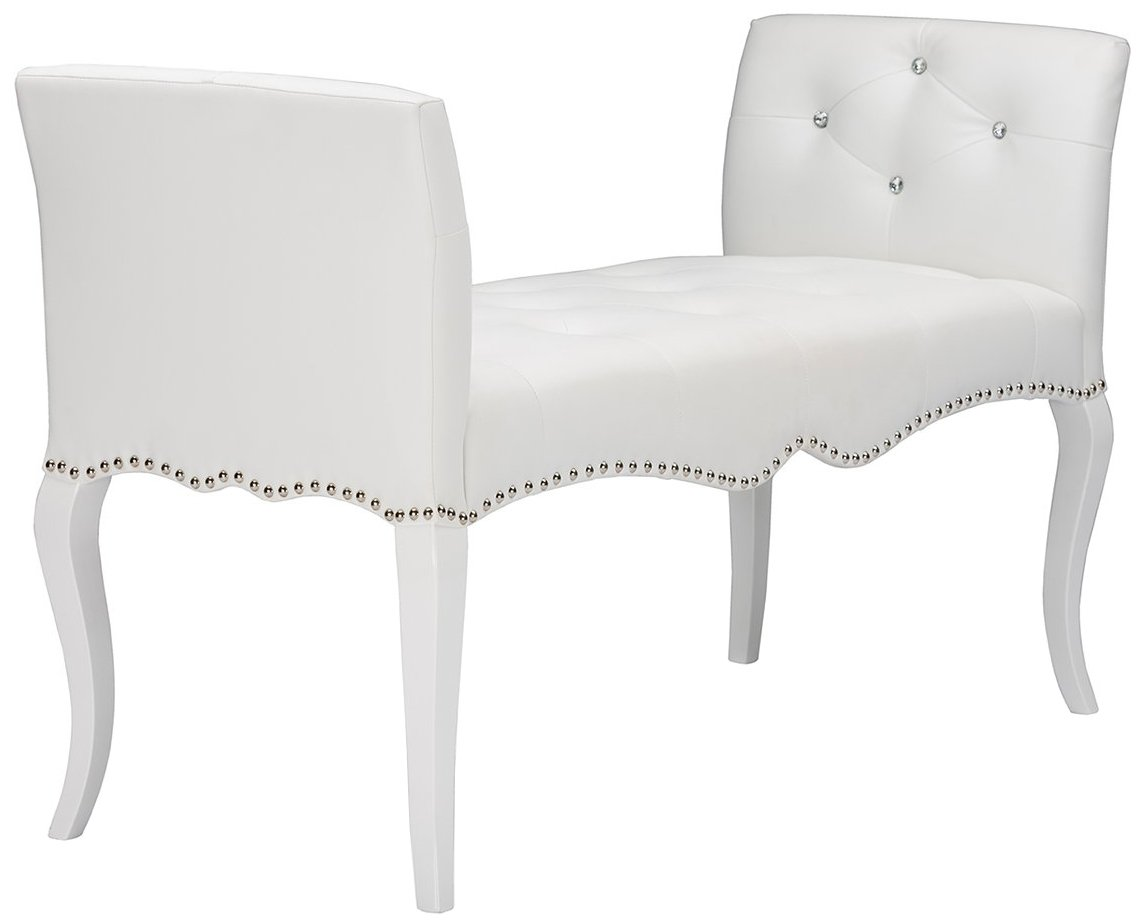 Details about Modern Contemporary White Faux Leather Tufted Seating Bench  Bedroom Furniture