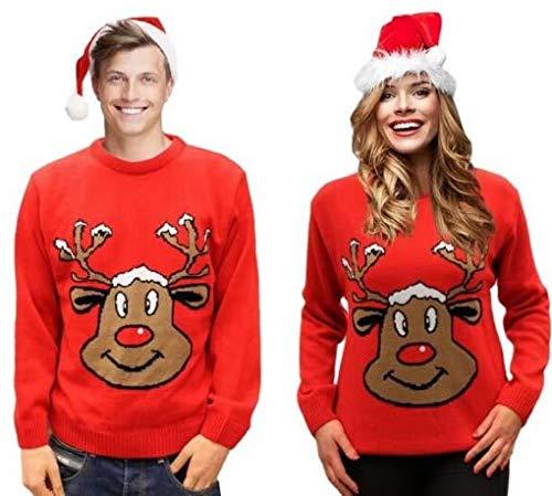 72e1a26f39 Louisiana Bedding Maglione di Natale Retro novità Renna Rosso Unisex per  Uomo e Donna Sorridente XS - XXL