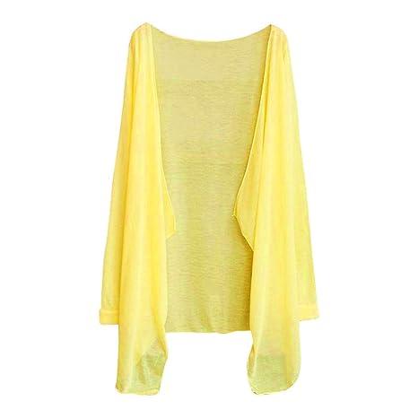 ... de la Manera Sexy Largo Fino Cardigan algodón Mezclado Modal protección Solar Tops Ropa Camisa (Un tamaño, Amarillo): Amazon.es: Ropa y accesorios