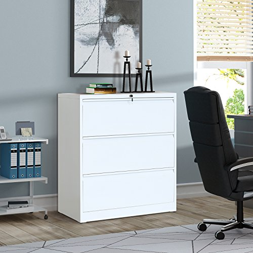 ModernLuxe Heavy-Duty 3 Drawer Lateral File Cabinet with Lock,White, -
