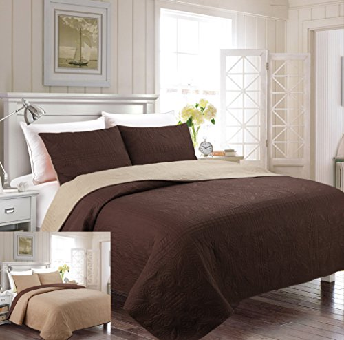 (Fancy Collection 3pc Luxury Bedspread Coverlet Embossed Bed Cover Solid Reversible Coffee /Taupe Over Size New Full/Queen 100