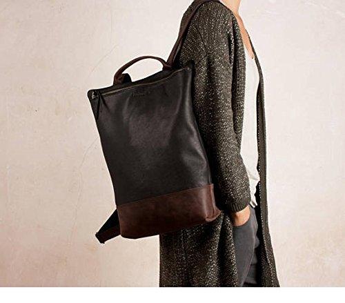 Mochila cuero grande negra y marrón oscuro, mochila cuero negro y marrón, mochila portátil