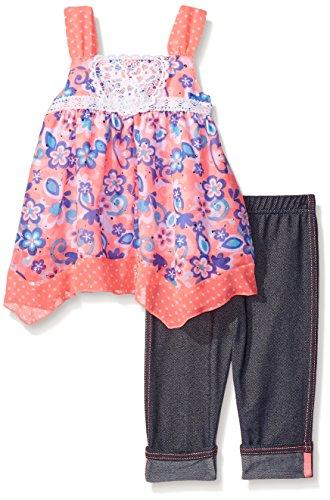 Little Lass Little Girls' Toddler 2 Piece Skimmer Set Crochet Medallion, Coral Glow, 3T