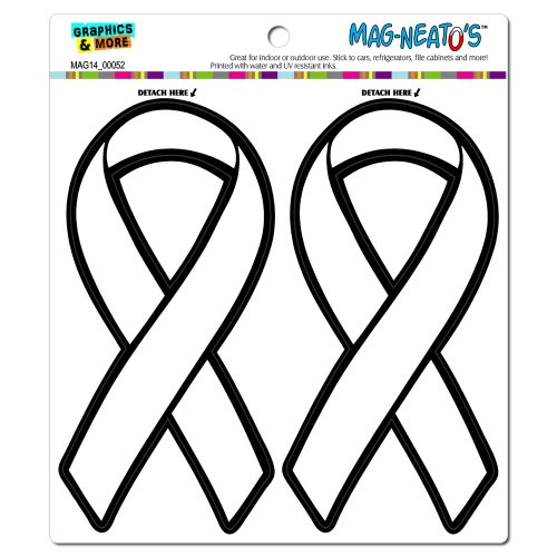 White Awareness Support Ribbon Lung Cancer MAG-NEATO'S(TM) Automotive Car Refrigerator Locker Vinyl Magnet Set