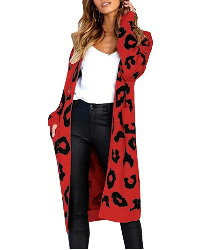 Soficy Women Open Front Leopard Knit Long Cardigan Print Knitted Maxi Sweater Coat