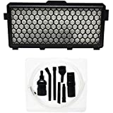 Replacement Miele S 4212 Vacuum HEPA Filter with 7-Piece Micro Vacuum Attachment Kit - Compatible Miele SF-AH 50, SF-HA 50, AH50 HEPA Filter