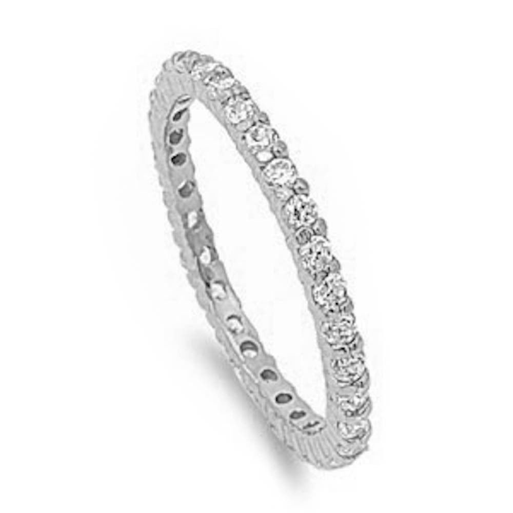 Stackable Cz Eternity Style Wedding Band .925 Sterling Silver 4-11 (6)