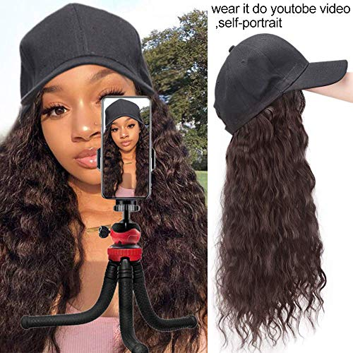 Synthetic Long Wave Baseball Hat with Hair Long Curly Wave Wig Hat with Synthetic Hair Adjustable Baseball Cap Hat with hair for Black Womens (Dark Brown)