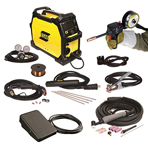 Combo - Spool Gun, Foot Control, and ESAB Rebel EMP 215ic Welding Machine, FREE Gloves: 1 Welding and 1 Tig (Esab Tig Welder)