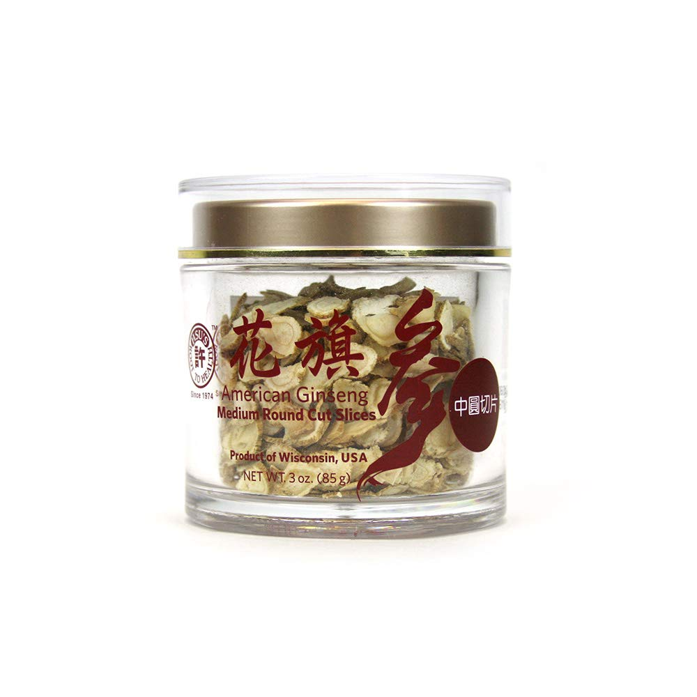 Hsu's Ginseng SKU 1126M-3 | Medium Round Cut Slices | Cultivated Wisconsin American Ginseng Direct from Hsu's Ginseng Gardens | 许氏花旗参中號規格圓切片 | 3oz jar, 西洋参