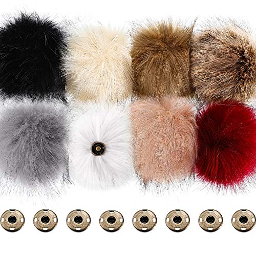 Boao Faux Fox Fur Fluffy Pompom Ball for hat with Removable Press Button for Knitting Hat Shoes Scarves Bag (Color B, 8 Pieces)