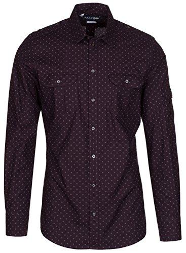 Dolce & Gabbana Men's 'Gold' Burgundy Polka Dot Epaulet Button Down Dress Shirt, Purple, 15 3/4 Dolce & Gabbana Mens Clothing