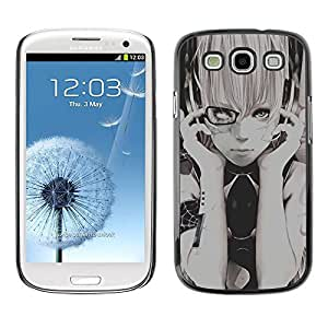 Paccase / SLIM PC / Aliminium Casa Carcasa Funda Case Cover - Girl Black White Hipster Grey - Samsung Galaxy S3 I9300