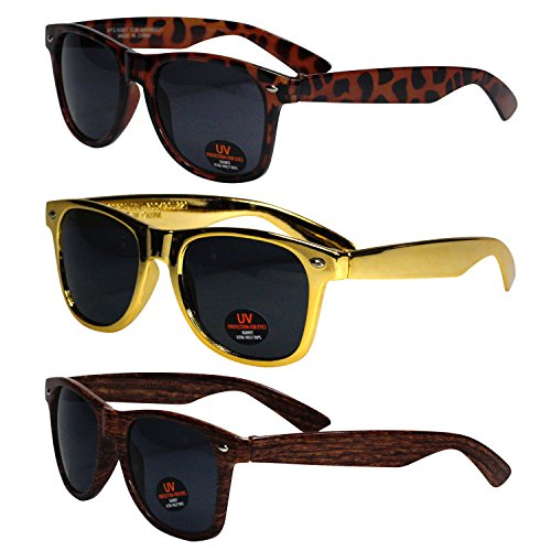 Classic Wayfarer Style Sunglasses by Ray Solée - Tinted Lenses with UVA & UVB Protection - 3 Pair Party Pack for Men, Women & Kids (Tortoise, Metallic Gold & Wood - Gold Wayfarer