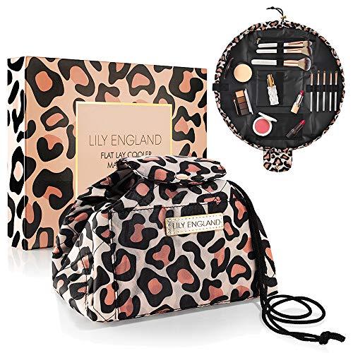 🥇 Bolsa de Maquillaje con Cordón Lily England – Neceser de Cosméticos y Organizador de Baño – Neceser de Viaje y Bolsa Isotérmica – Leopardo