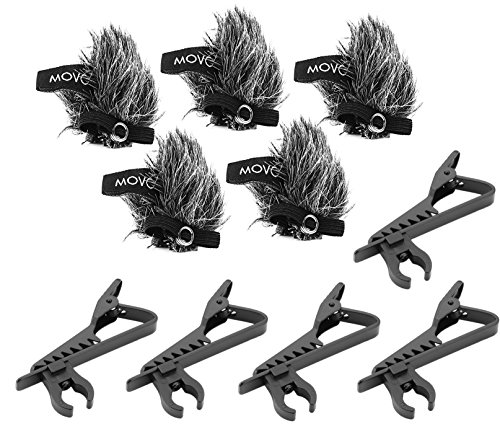 Movo MCW6 5-PACK of Lavalier Microphone Windscreen Muffs and Metal Crocodile Lapel Clips for 8.3mm Mic Capsules - Fits Movo LV-6, LV-6C & LV-6O - Snap Fit Windscreen
