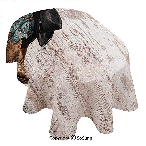 SoSung Western Oval Polyester Tablecloth,Traditional Rodeo Cowboy Hat and Cowgirl Boots in a Retro Grunge Background Art Photo,Dining Room Kitchen Rectangular Table Cover, 60 x 84 inches,Brown Black