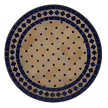 Table Ronde Zellige Mosaiques Fabrikation artisanale. Ø 45 cm Bleu ...