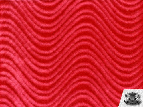 Velvet Flocking Swirl RED Upholstery Fabric By the Yard