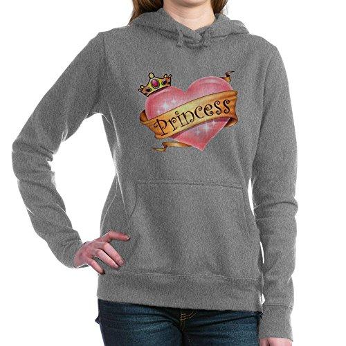 Royal Lion Women's Hooded Sweatshirt Dk Princess Crowned Pink Heart - Charcoal Heather, 2X